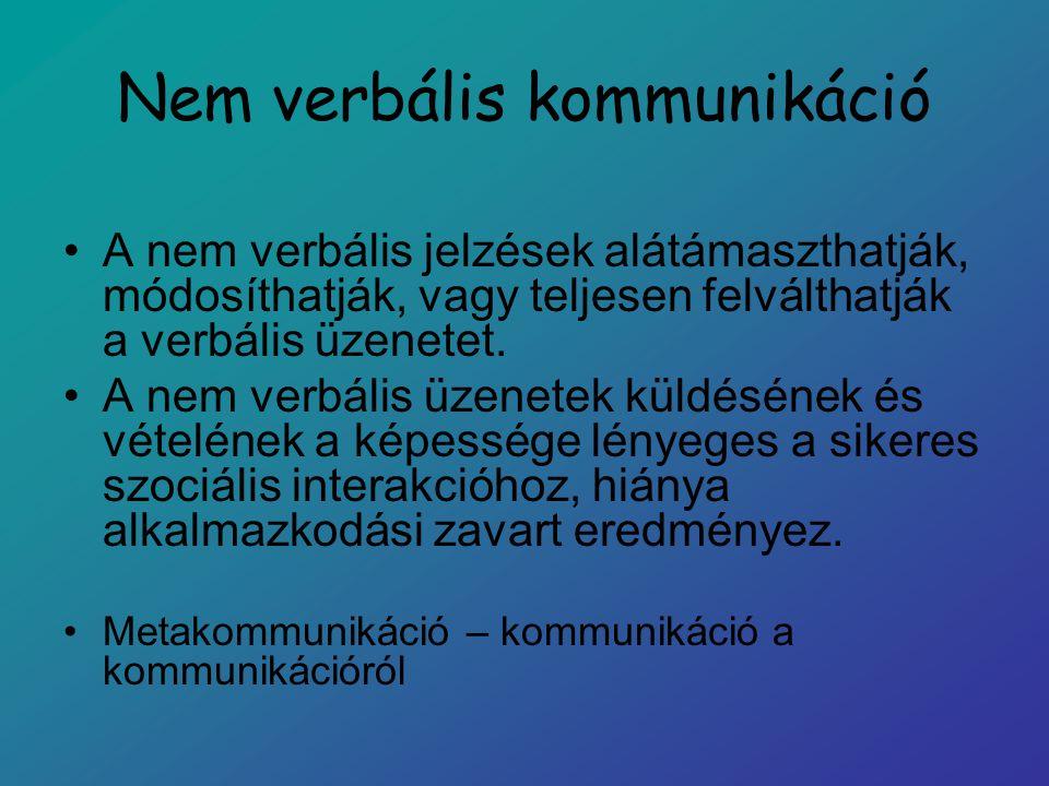 A verbális (VK) és a nem verbális kommunikáció (NVK) összehasonlítása A nem verbális üzenetek dekódolása és a rájuk adott reakció közvetlenebb és automatikusabb.
