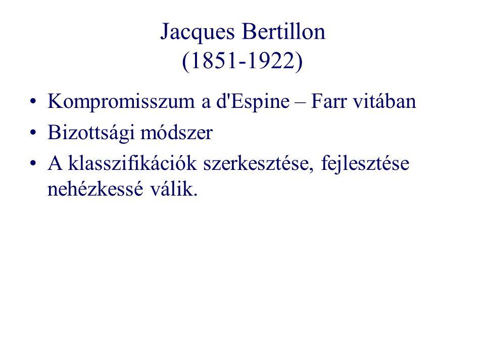 Jacques Bertillon (1851-1922) Kompromisszum a d Espine – Farr vitában Bizottsági módszer A klasszifikációk szerkesztése, fejlesztése nehézkessé válik.