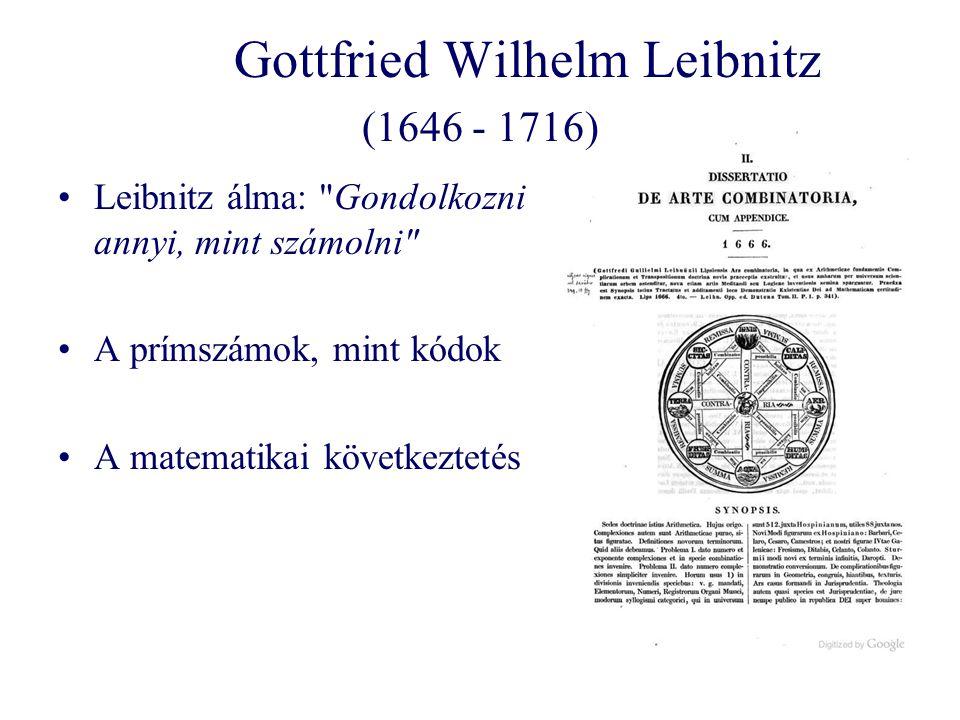 Gottfried Wilhelm Leibnitz (1646 - 1716) Leibnitz álma: Gondolkozni annyi, mint számolni A prímszámok, mint kódok A matematikai következtetés