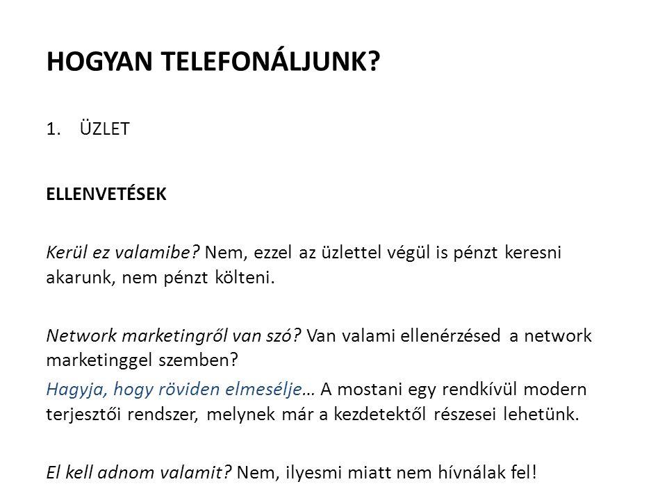 HOGYAN TELEFONÁLJUNK? 1.ÜZLET ELLENVETÉSEK Kerül ez valamibe? Nem, ezzel az üzlettel végül is pénzt keresni akarunk, nem pénzt költeni. Network market