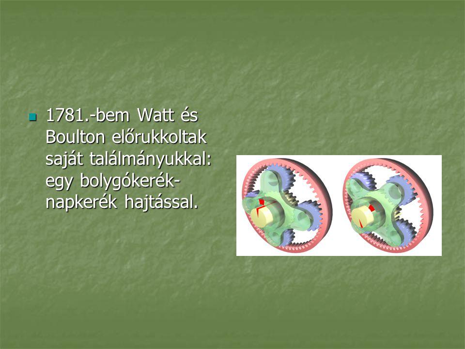 1781.-bem Watt és Boulton előrukkoltak saját találmányukkal: egy bolygókerék- napkerék hajtással. 1781.-bem Watt és Boulton előrukkoltak saját találmá