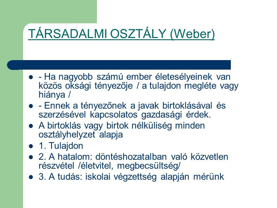 TÁRSADALMI OSZTÁLY (Weber) - Ha nagyobb számú ember életesélyeinek van közös oksági tényezője / a tulajdon megléte vagy hiánya / - Ennek a tényezőnek