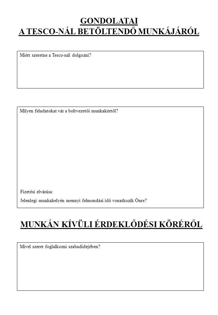 BÁRMI MÁS… Van-e bármi egyéb, amit szeretne közölni velünk, hogy jelentkezését alátámassza:
