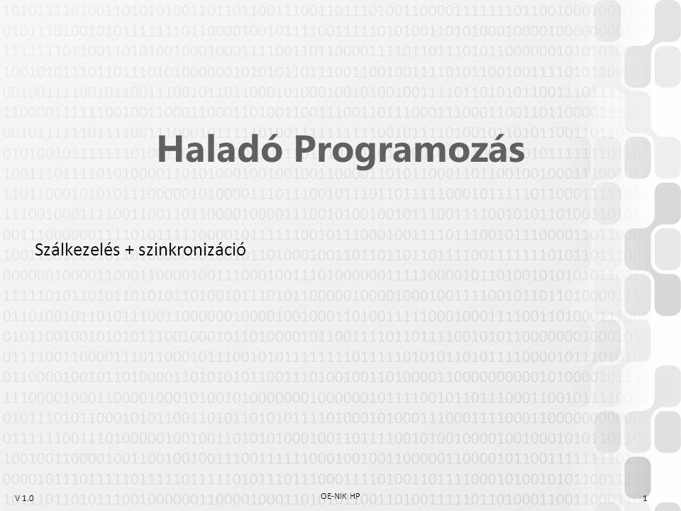 V 1.0 OE-NIK HP 1 Haladó Programozás Szálkezelés + szinkronizáció