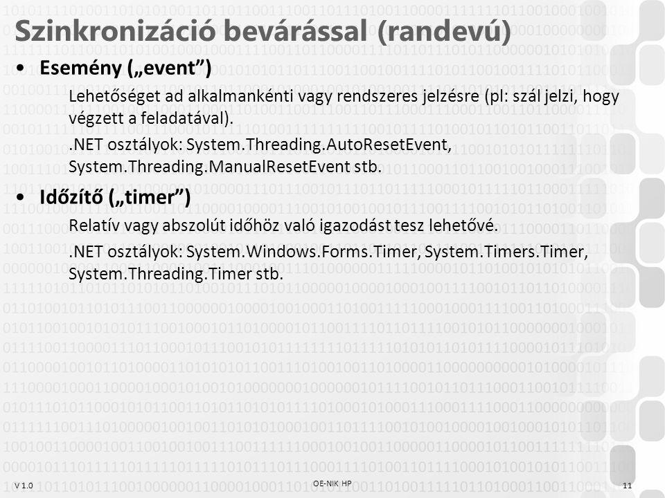 """V 1.0 Szinkronizáció bevárással (randevú) Esemény (""""event ) Lehetőséget ad alkalmankénti vagy rendszeres jelzésre (pl: szál jelzi, hogy végzett a feladatával)..NET osztályok: System.Threading.AutoResetEvent, System.Threading.ManualResetEvent stb."""