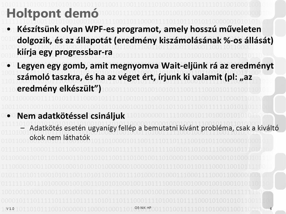 V 1.0 Holtpont Oka (példából): –Szál 1: hosszú műveletet végez, és néha Invoke()-ol, hogy kiírja az aktuális állapotát.