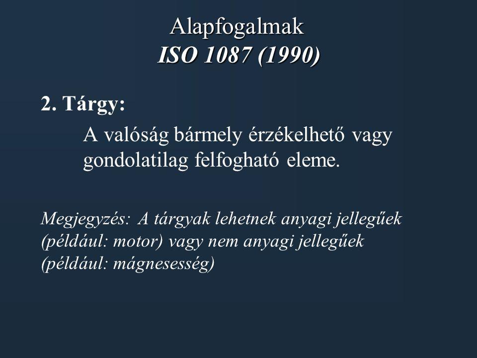Alapfogalmak ISO 1087 (1990) 2. Tárgy: A valóság bármely érzékelhető vagy gondolatilag felfogható eleme. Megjegyzés: A tárgyak lehetnek anyagi jellegű