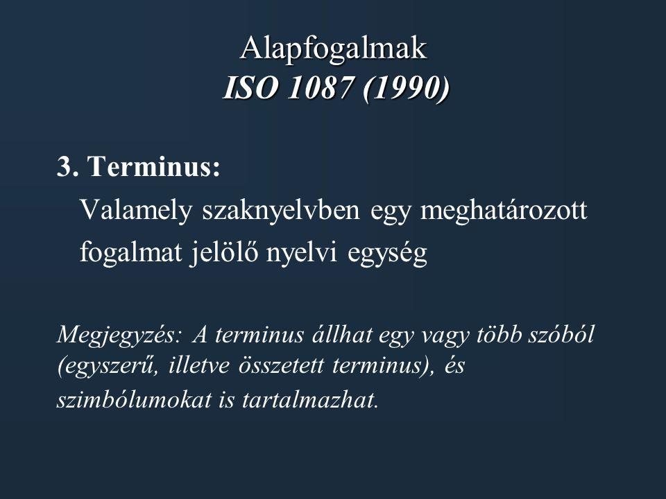 Alapfogalmak ISO 1087 (1990) 3. Terminus: Valamely szaknyelvben egy meghatározott fogalmat jelölő nyelvi egység Megjegyzés: A terminus állhat egy vagy