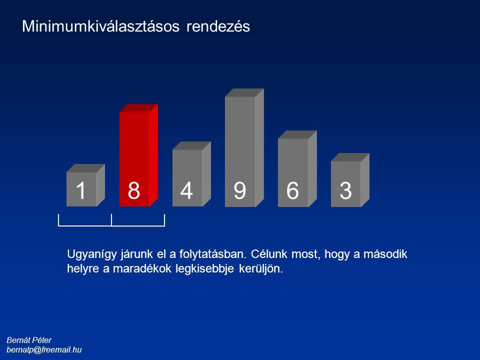 Bernát Péter bernatp@freemail.hu 1 3 4 6 8 9 Minimumkiválasztásos rendezés Ugyanígy járunk el a folytatásban. Célunk most, hogy a második helyre a mar