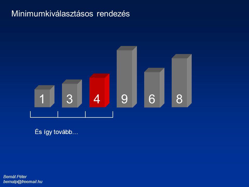 Bernát Péter bernatp@freemail.hu 1 3 4 6 8 9 Minimumkiválasztásos rendezés És így tovább…
