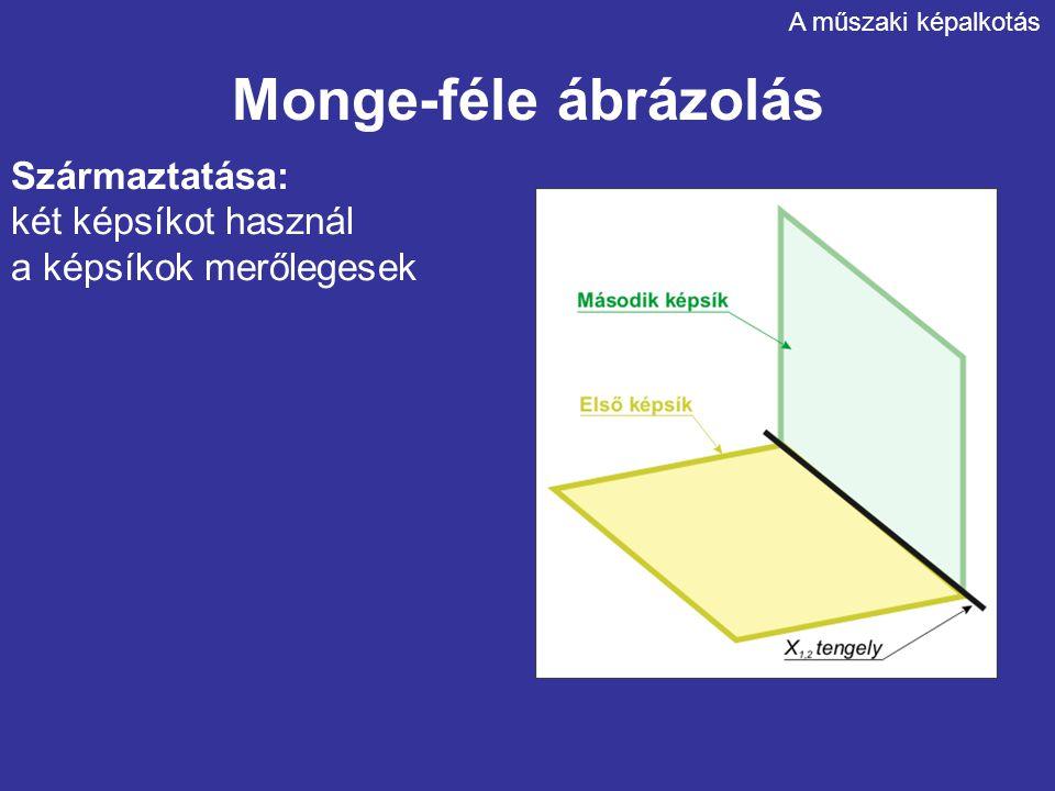 Monge-féle ábrázolás Származtatása: két képsíkot használ a képsíkok merőlegesek A műszaki képalkotás