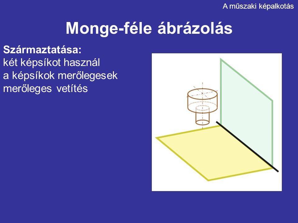 Monge-féle ábrázolás Származtatása: két képsíkot használ a képsíkok merőlegesek merőleges vetítés A műszaki képalkotás