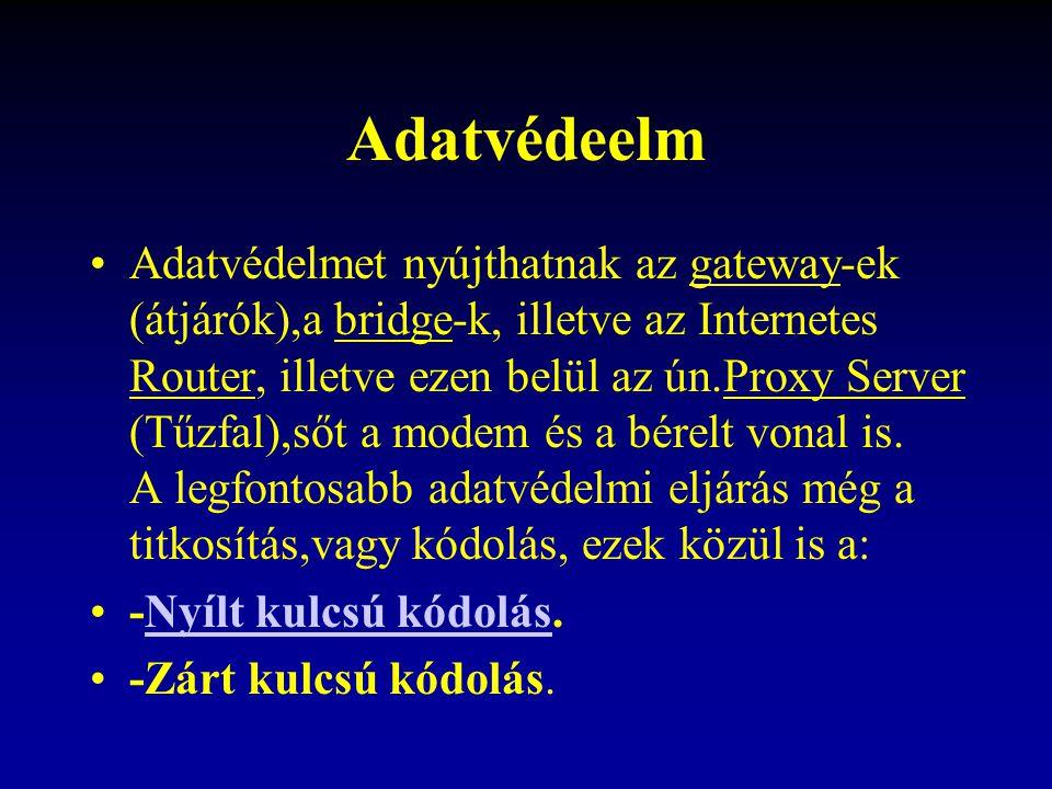 Adatvédeelm Adatvédelmet nyújthatnak az gateway-ek (átjárók),a bridge-k, illetve az Internetes Router, illetve ezen belül az ún.Proxy Server (Tűzfal),sőt a modem és a bérelt vonal is.