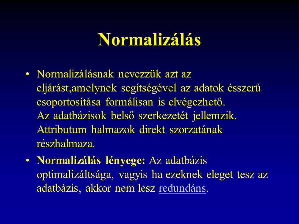 Normalizálás Normalizálásnak nevezzük azt az eljárást,amelynek segítségével az adatok ésszerű csoportosítása formálisan is elvégezhető. Az adatbázisok