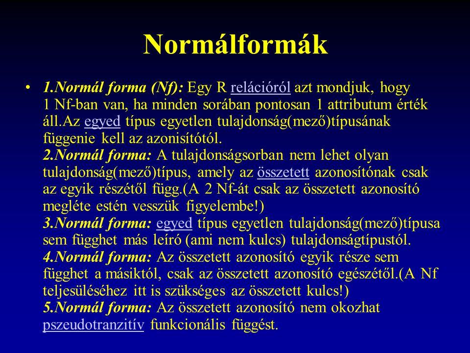 Normálformák 1.Normál forma (Nf): Egy R relációról azt mondjuk, hogy 1 Nf-ban van, ha minden sorában pontosan 1 attributum érték áll.Az egyed típus egyetlen tulajdonság(mező)típusának függenie kell az azonisítótól.