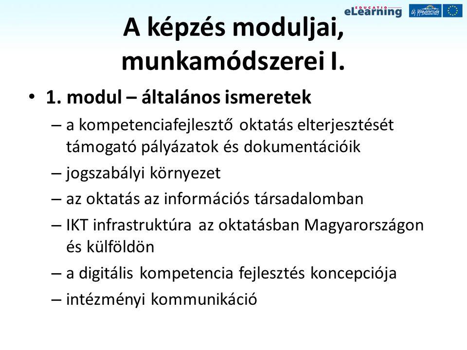 A képzés moduljai, munkamódszerei II.2.