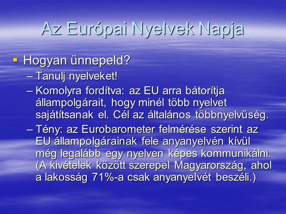 Az Európai Nyelvek Napja  Hogyan ünnepeld. –Tanulj nyelveket.