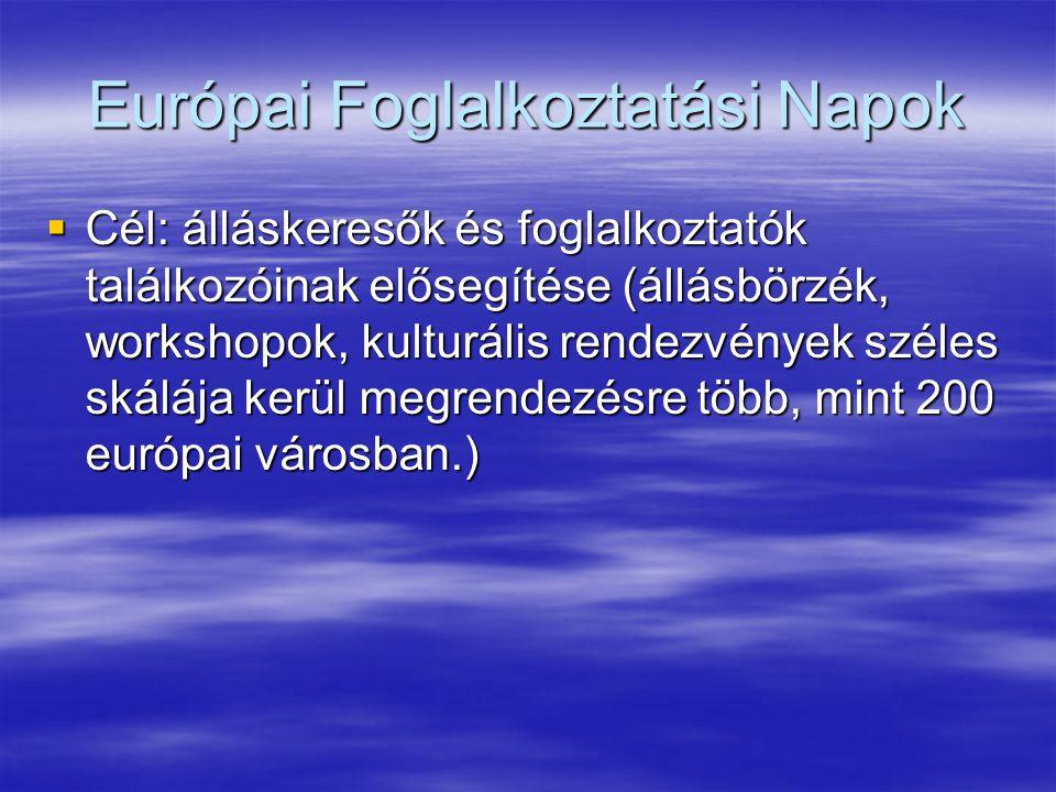 Európai Foglalkoztatási Napok  Cél: álláskeresők és foglalkoztatók találkozóinak elősegítése (állásbörzék, workshopok, kulturális rendezvények széles skálája kerül megrendezésre több, mint 200 európai városban.)