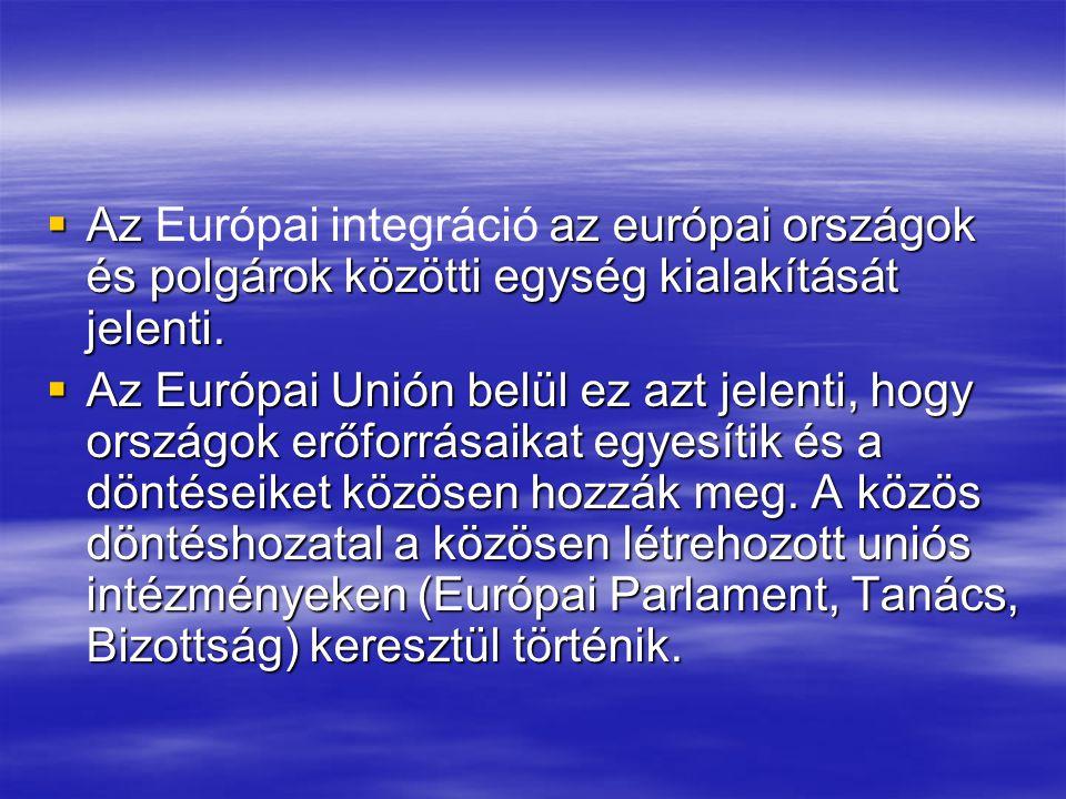  Az az európai országok és polgárok közötti egység kialakítását jelenti.