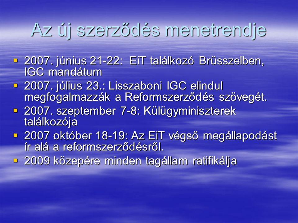 Az új szerződés menetrendje  2007. június 21-22: EiT találkozó Brüsszelben, IGC mandátum  2007.