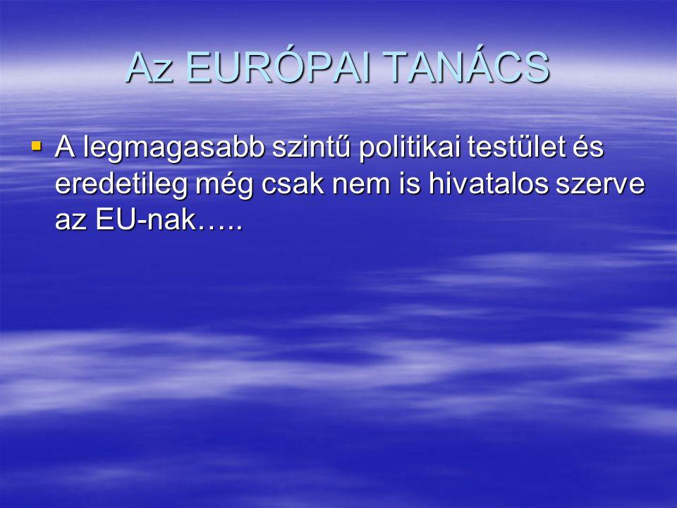 Az EURÓPAI TANÁCS  A legmagasabb szintű politikai testület és eredetileg még csak nem is hivatalos szerve az EU-nak…..