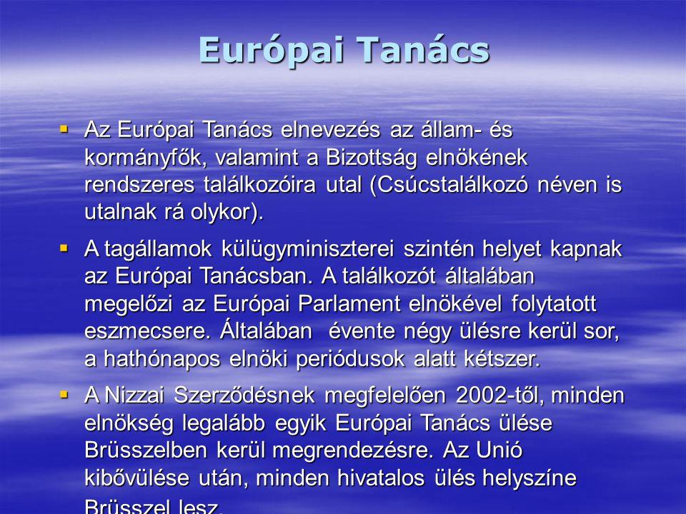 Európai Tanács  Az Európai Tanács elnevezés az állam- és kormányfők, valamint a Bizottság elnökének rendszeres találkozóira utal (Csúcstalálkozó néven is utalnak rá olykor).