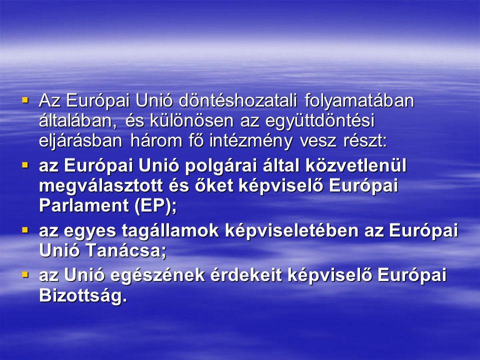  Az Európai Unió döntéshozatali folyamatában általában, és különösen az együttdöntési eljárásban három fő intézmény vesz részt:  az Európai Unió polgárai által közvetlenül megválasztott és őket képviselő Európai Parlament (EP);  az egyes tagállamok képviseletében az Európai Unió Tanácsa;  az Unió egészének érdekeit képviselő Európai Bizottság.