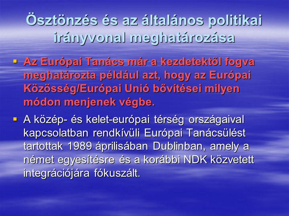 Ösztönzés és az általános politikai irányvonal meghatározása  Az Európai Tanács már a kezdetektől fogva meghatározta például azt, hogy az Európai Közösség/Európai Unió bővítései milyen módon menjenek végbe.