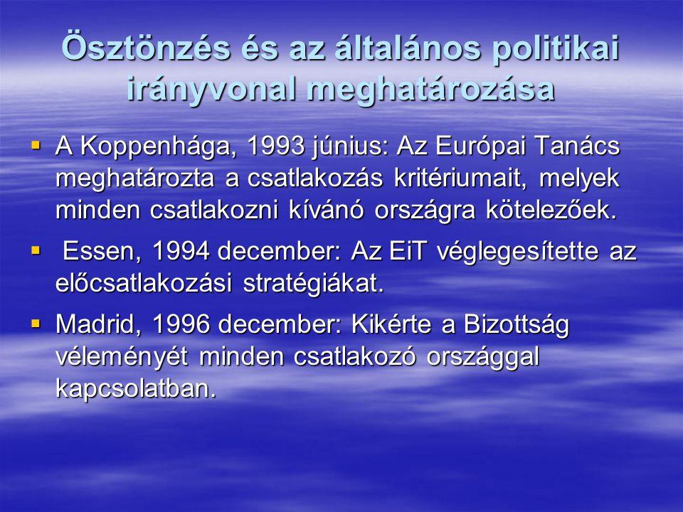 Ösztönzés és az általános politikai irányvonal meghatározása  A Koppenhága, 1993 június: Az Európai Tanács meghatározta a csatlakozás kritériumait, melyek minden csatlakozni kívánó országra kötelezőek.