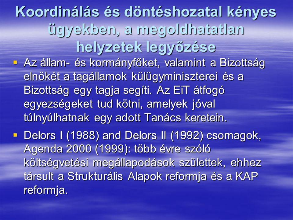 Koordinálás és döntéshozatal kényes ügyekben, a megoldhatatlan helyzetek legyőzése  Az állam- és kormányfőket, valamint a Bizottság elnökét a tagállamok külügyminiszterei és a Bizottság egy tagja segíti.