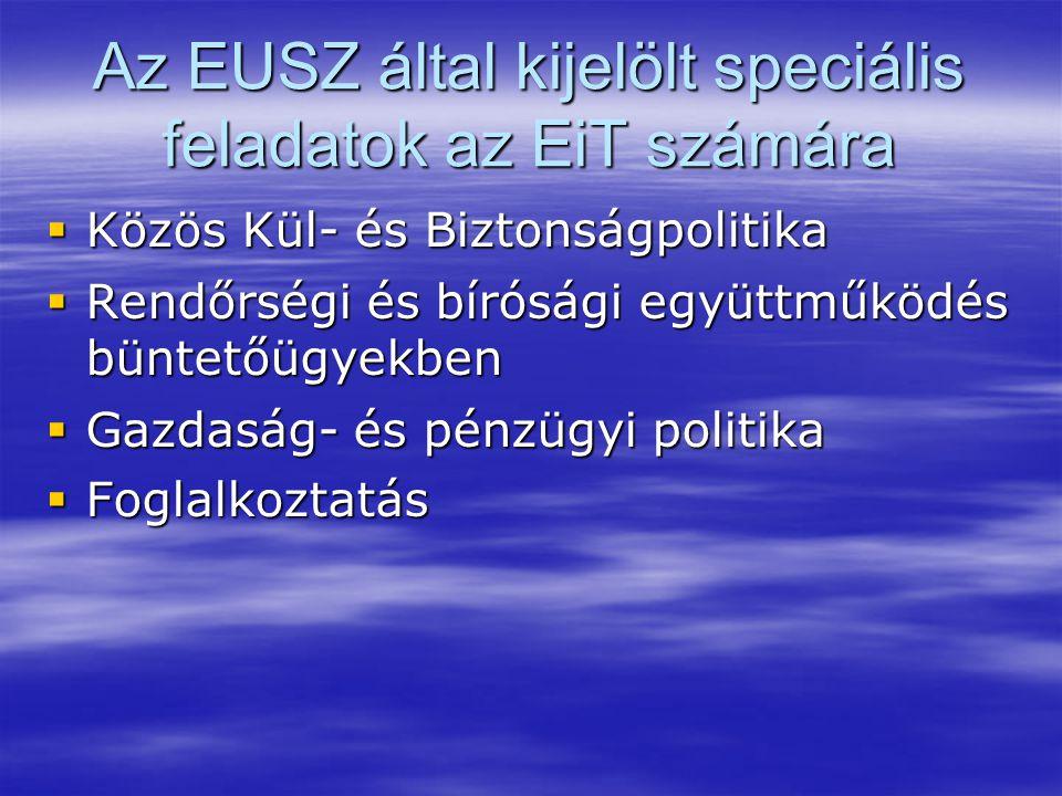 Az EUSZ által kijelölt speciális feladatok az EiT számára  Közös Kül- és Biztonságpolitika  Rendőrségi és bírósági együttműködés büntetőügyekben  Gazdaság- és pénzügyi politika  Foglalkoztatás