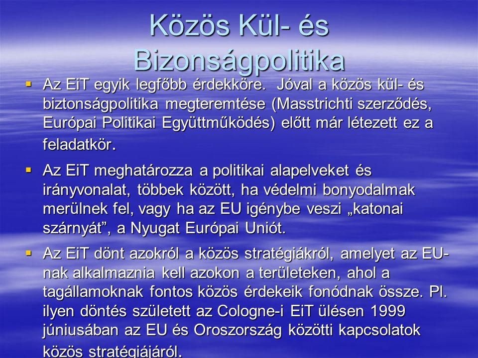 Közös Kül- és Bizonságpolitika  Az EiT egyik legfőbb érdekköre.