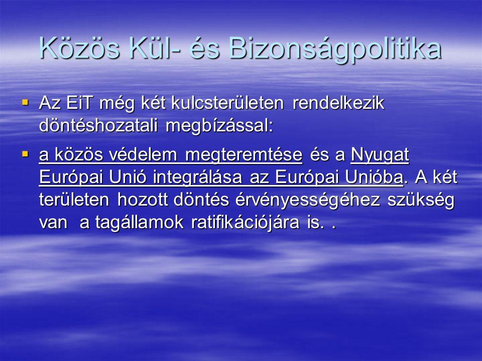 Közös Kül- és Bizonságpolitika  Az EiT még két kulcsterületen rendelkezik döntéshozatali megbízással:  a közös védelem megteremtése és a Nyugat Európai Unió integrálása az Európai Unióba.