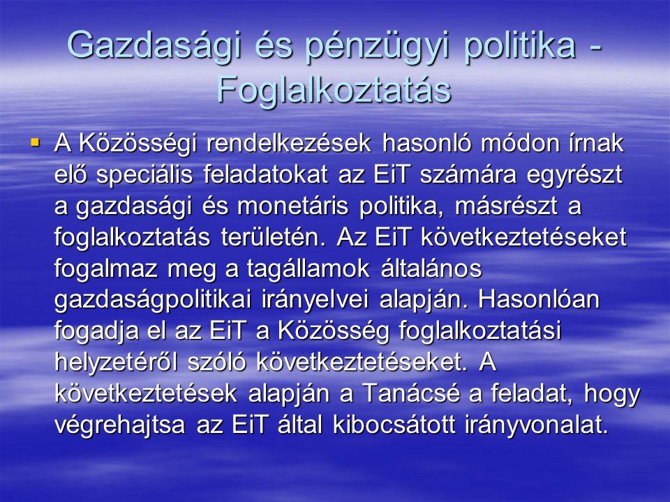 Gazdasági és pénzügyi politika - Foglalkoztatás  A Közösségi rendelkezések hasonló módon írnak elő speciális feladatokat az EiT számára egyrészt a gazdasági és monetáris politika, másrészt a foglalkoztatás területén.