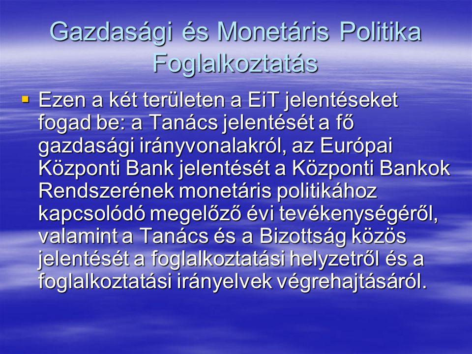 Gazdasági és Monetáris Politika Foglalkoztatás  Ezen a két területen a EiT jelentéseket fogad be: a Tanács jelentését a fő gazdasági irányvonalakról, az Európai Központi Bank jelentését a Központi Bankok Rendszerének monetáris politikához kapcsolódó megelőző évi tevékenységéről, valamint a Tanács és a Bizottság közös jelentését a foglalkoztatási helyzetről és a foglalkoztatási irányelvek végrehajtásáról.