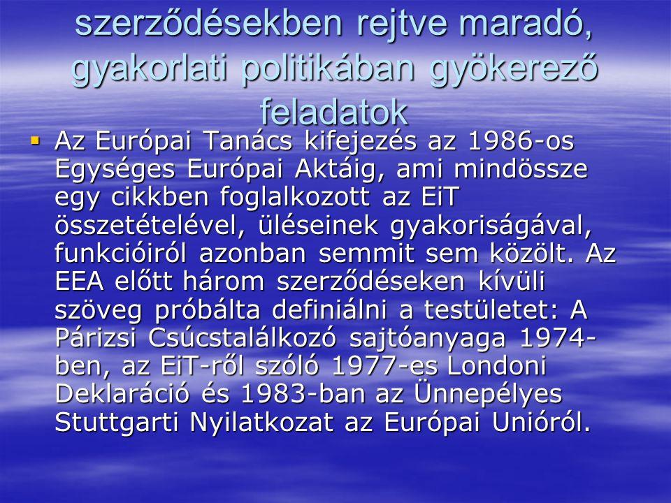 szerződésekben rejtve maradó, gyakorlati politikában gyökerező feladatok  Az Európai Tanács kifejezés az 1986-os Egységes Európai Aktáig, ami mindössze egy cikkben foglalkozott az EiT összetételével, üléseinek gyakoriságával, funkcióiról azonban semmit sem közölt.