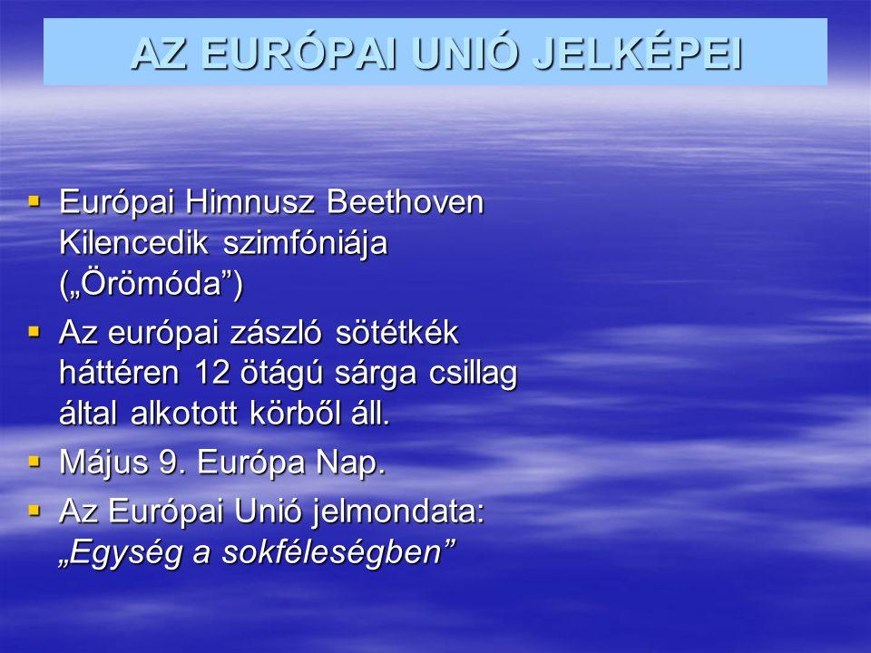"""AZ EURÓPAI UNIÓ JELKÉPEI  Európai Himnusz Beethoven Kilencedik szimfóniája (""""Örömóda )  Az európai zászló sötétkék háttéren 12 ötágú sárga csillag által alkotott körből áll."""