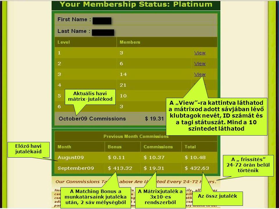 """A """"View -ra kattintva láthatod a mátrixod adott sávjában lévő klubtagok nevét, ID számát és a tagi státuszát."""