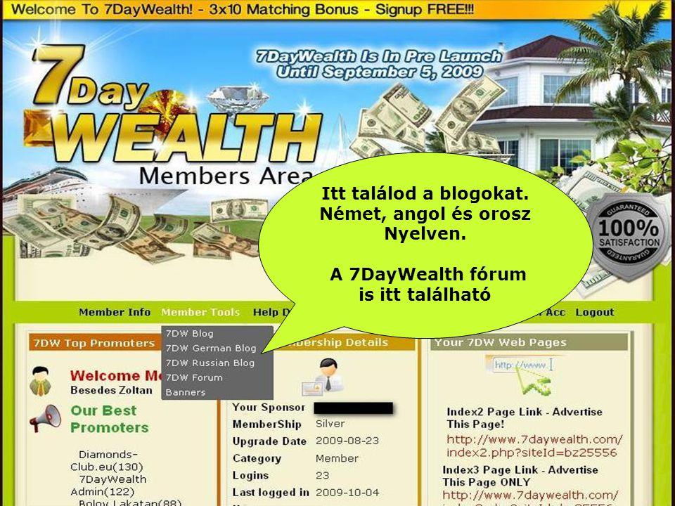 Itt találod a blogokat. Német, angol és orosz Nyelven. A 7DayWealth fórum is itt található