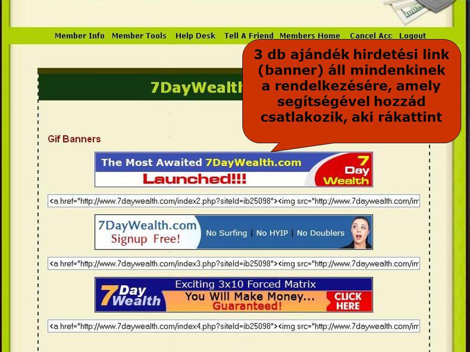 3 db ajándék hirdetési link (banner) áll mindenkinek a rendelkezésére, amely segítségével hozzád csatlakozik, aki rákattint