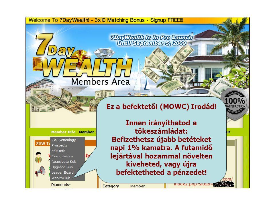 Ez a befektetői (MOWC) Irodád! Innen irányíthatod a tőkeszámládat: Befizethetsz újabb betéteket napi 1% kamatra. A futamidő lejártával hozammal növelt