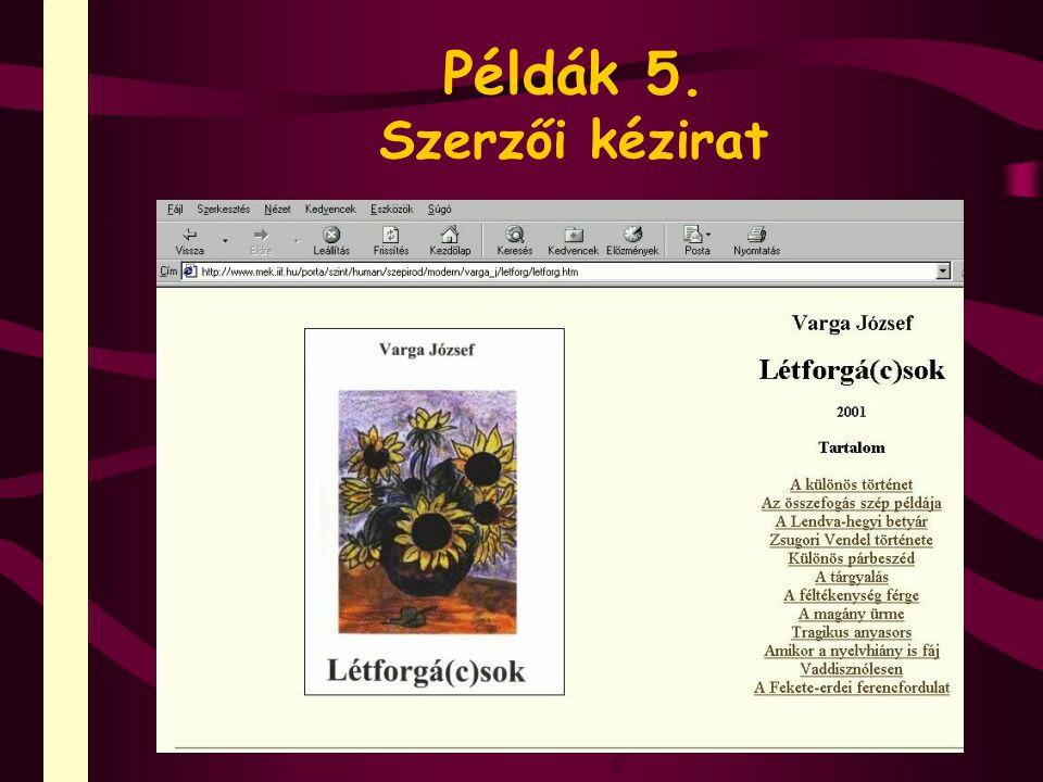 Példák 5. Szerzői kézirat