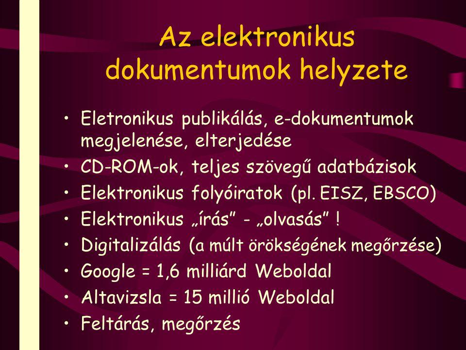 Az elektronikus dokumentumok helyzete Eletronikus publikálás, e-dokumentumok megjelenése, elterjedése CD-ROM-ok, teljes szövegű adatbázisok Elektronikus folyóiratok ( pl.