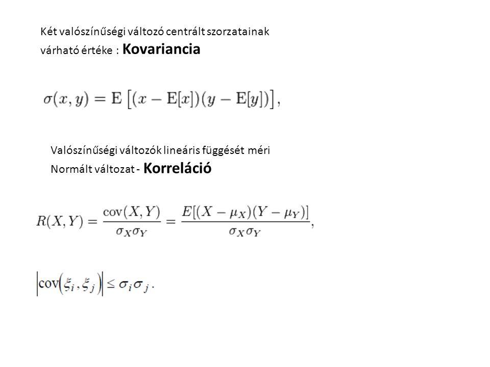 Két valószínűségi változó centrált szorzatainak várható értéke : Kovariancia Valószínűségi változók lineáris függését méri Normált változat - Korreláció