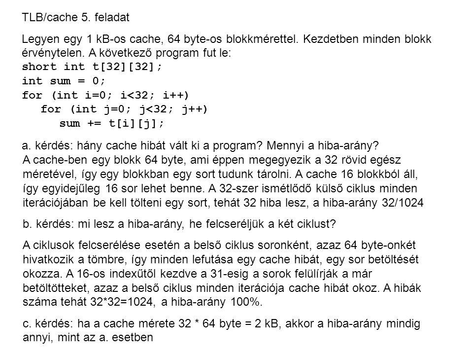 TLB/cache 5. feladat Legyen egy 1 kB-os cache, 64 byte-os blokkmérettel. Kezdetben minden blokk érvénytelen. A következő program fut le: short int t[3