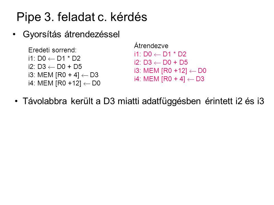 Pipe 3. feladat c. kérdés Gyorsítás átrendezéssel Eredeti sorrend: i1: D0  D1 * D2 i2: D3  D0 + D5 i3: MEM [R0 + 4]  D3 i4: MEM [R0 +12]  D0 Átren