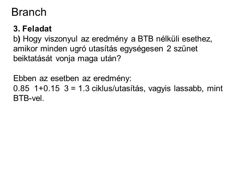 Branch 3. Feladat b) Hogy viszonyul az eredmény a BTB nélküli esethez, amikor minden ugró utasítás egységesen 2 szünet beiktatását vonja maga után? Eb