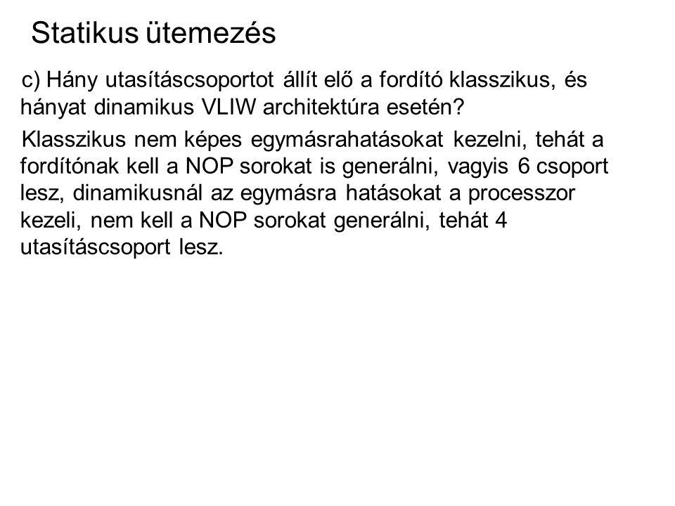 Statikus ütemezés c) Hány utasításcsoportot állít elő a fordító klasszikus, és hányat dinamikus VLIW architektúra esetén? Klasszikus nem képes egymásr