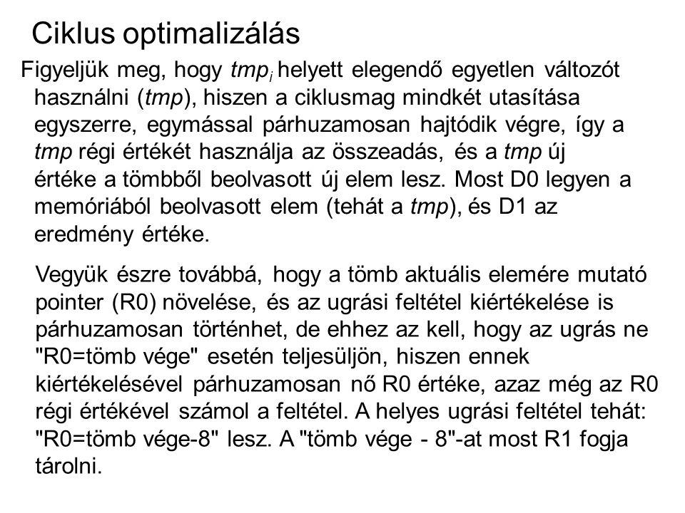 Ciklus optimalizálás Figyeljük meg, hogy tmp i helyett elegendő egyetlen változót használni (tmp), hiszen a ciklusmag mindkét utasítása egyszerre, egy