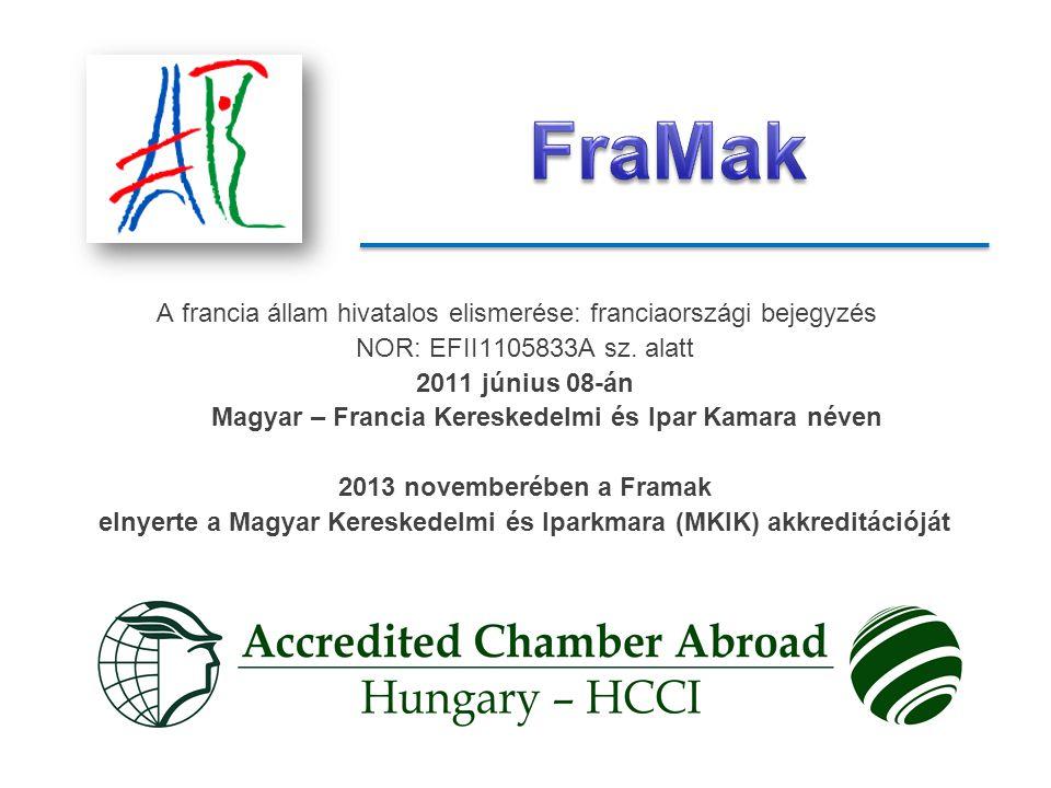 A francia állam hivatalos elismerése: franciaországi bejegyzés NOR: EFII1105833A sz.